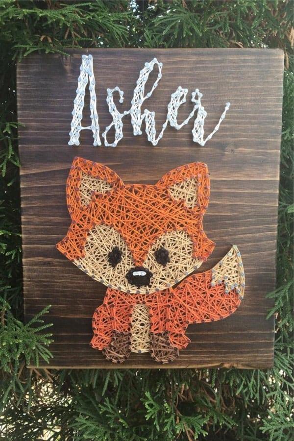 fox pattern string craft for kids