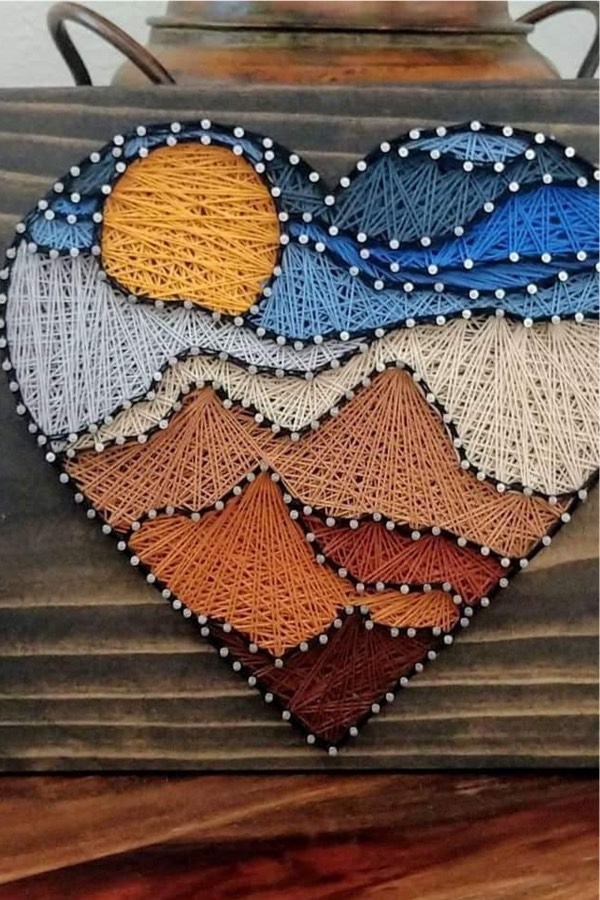 diy string art with heart shape