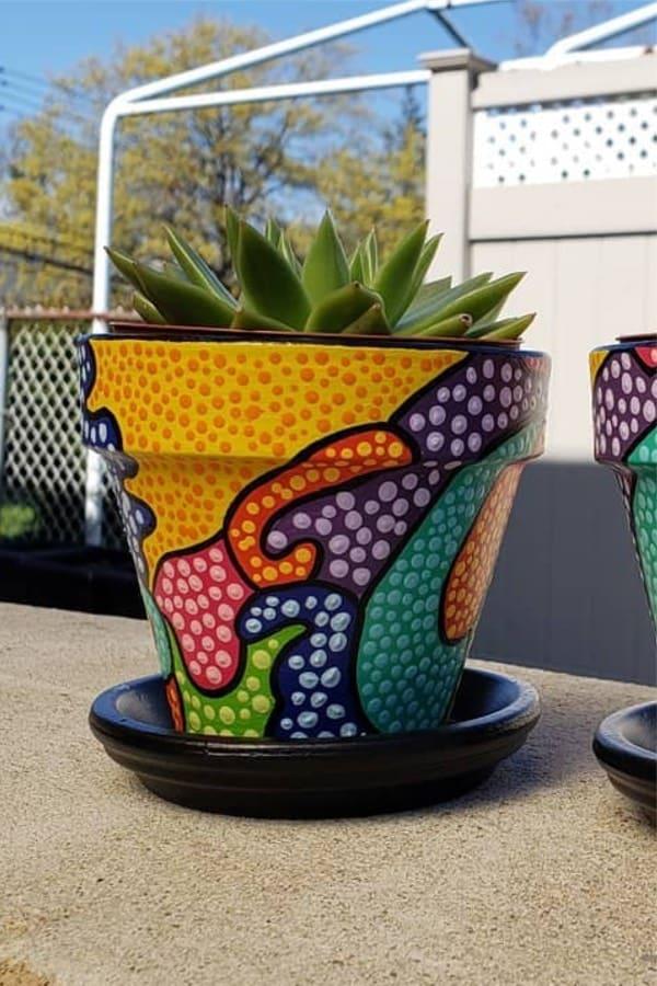 dot painted succulent clay pot