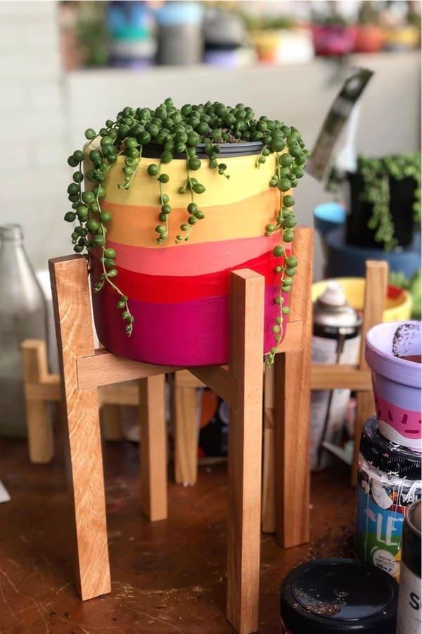 colorful boho painted planter