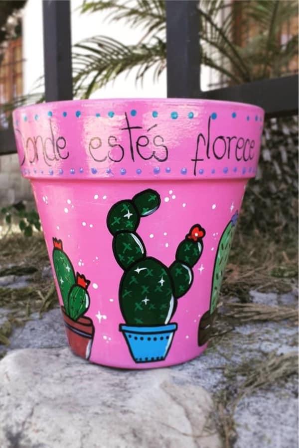 cactus themed clay pot design