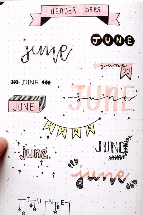 june bullet journal headers in pink