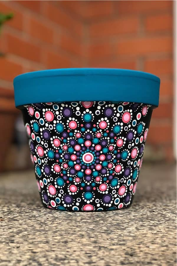 colorful design for painted terra cotta pot