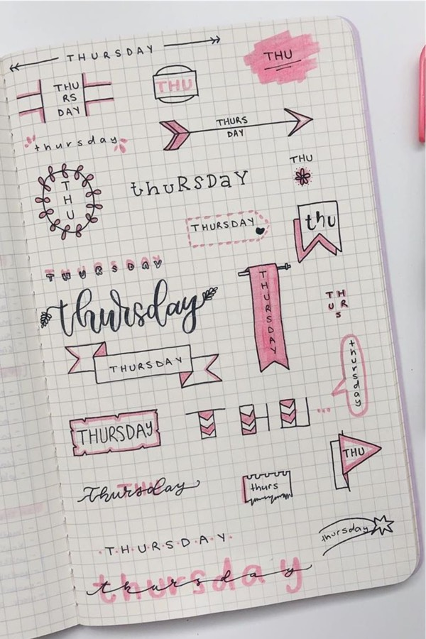 bujo banners and titles with pink color