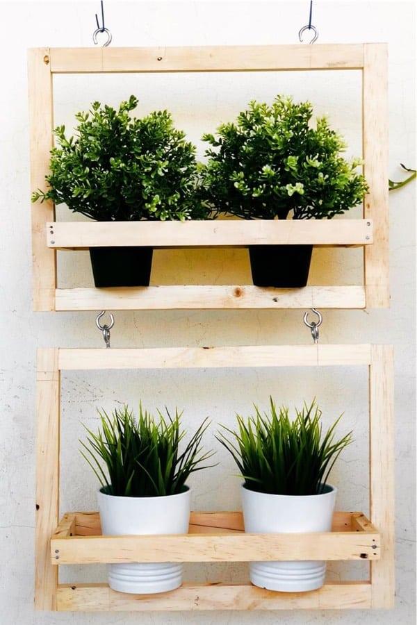 scrapwood diy hanging garden idea