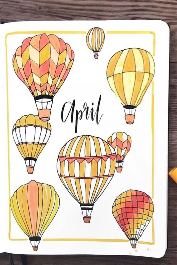 best hot air balloon bujo layouts