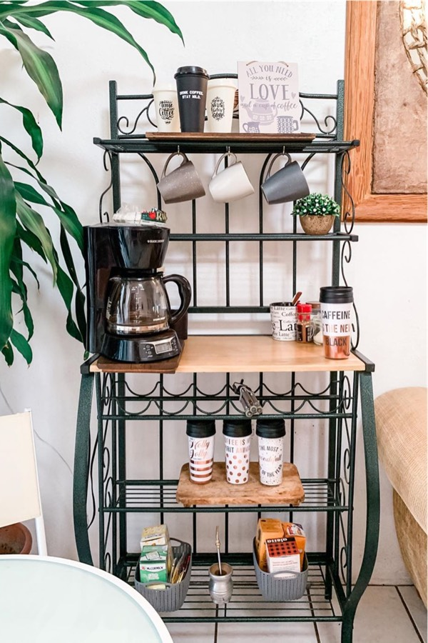 basic coffee bar with starbucks cups