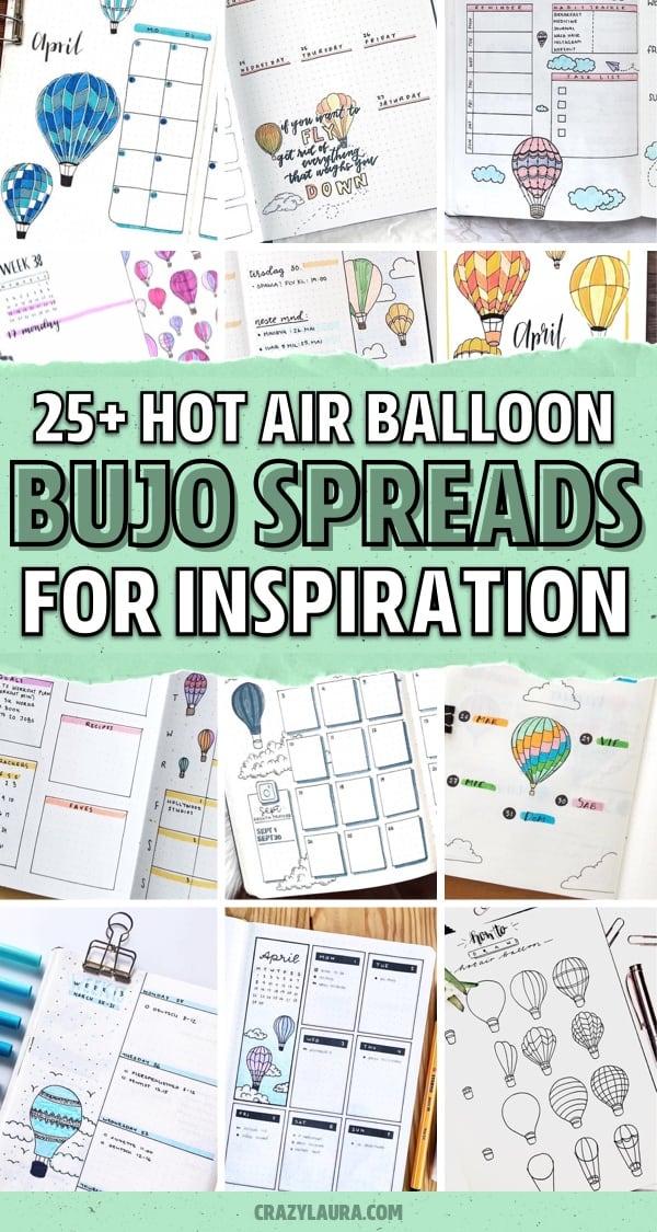 hot air balloon themed dot journal