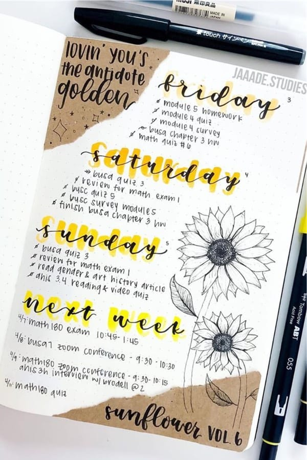 bullet journal log with sunflower drawings