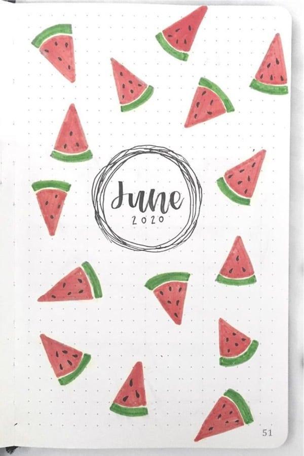 summer bujo watermelon theme inspiration
