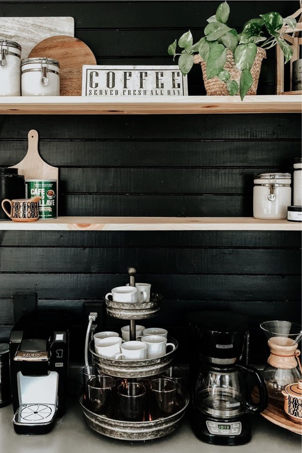 coffee station with black wood