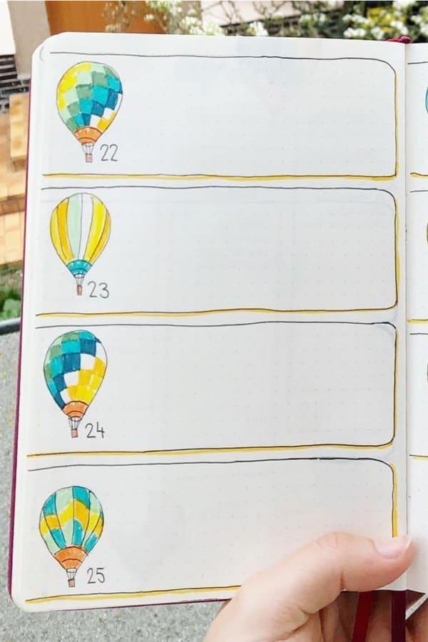 hot air balloon bujo layout
