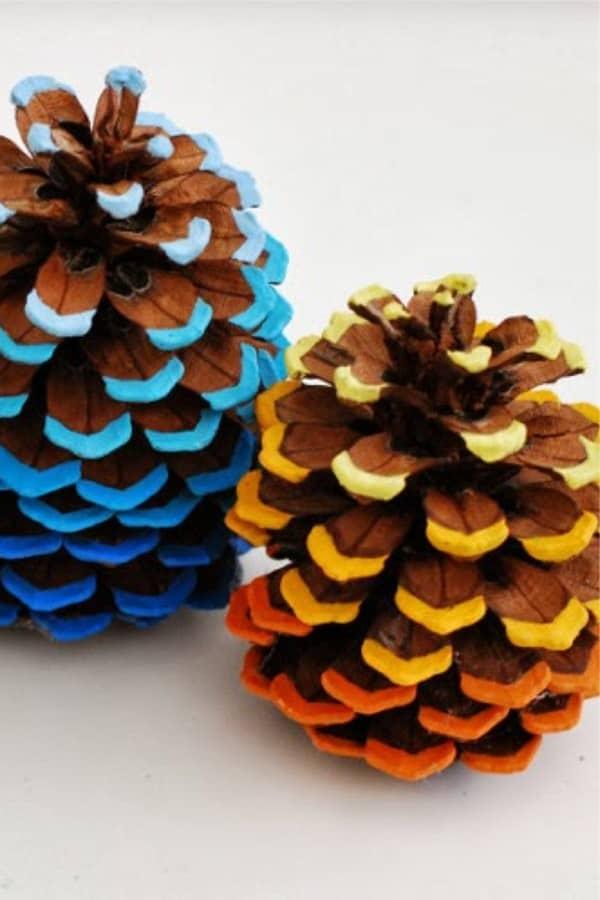creative ways to paint pinecones