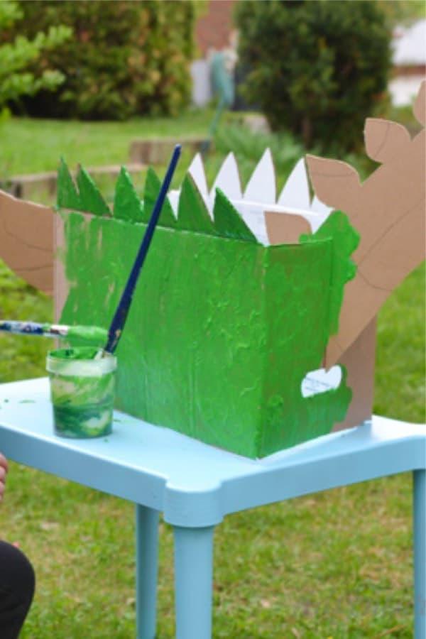 recycled cardboard box dinosaur craft tutorial
