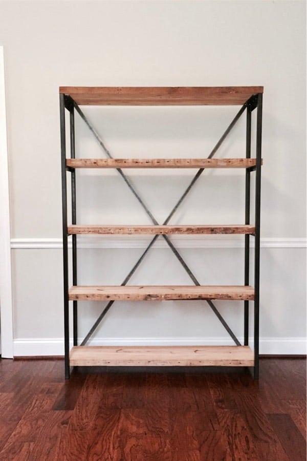 live edge wooden bookshelf