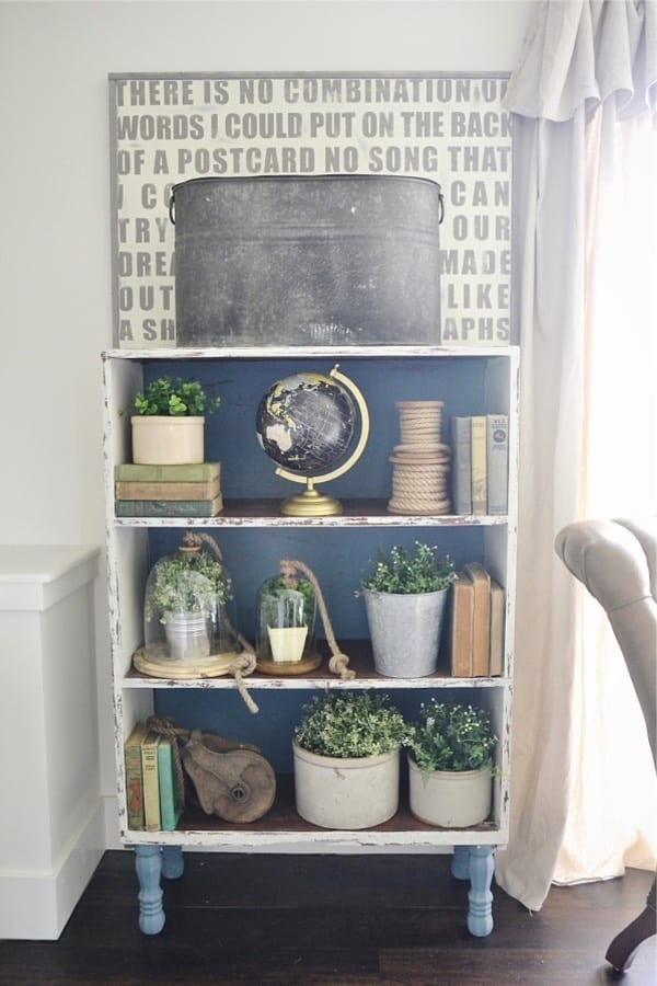 repainted bookshelf makeover