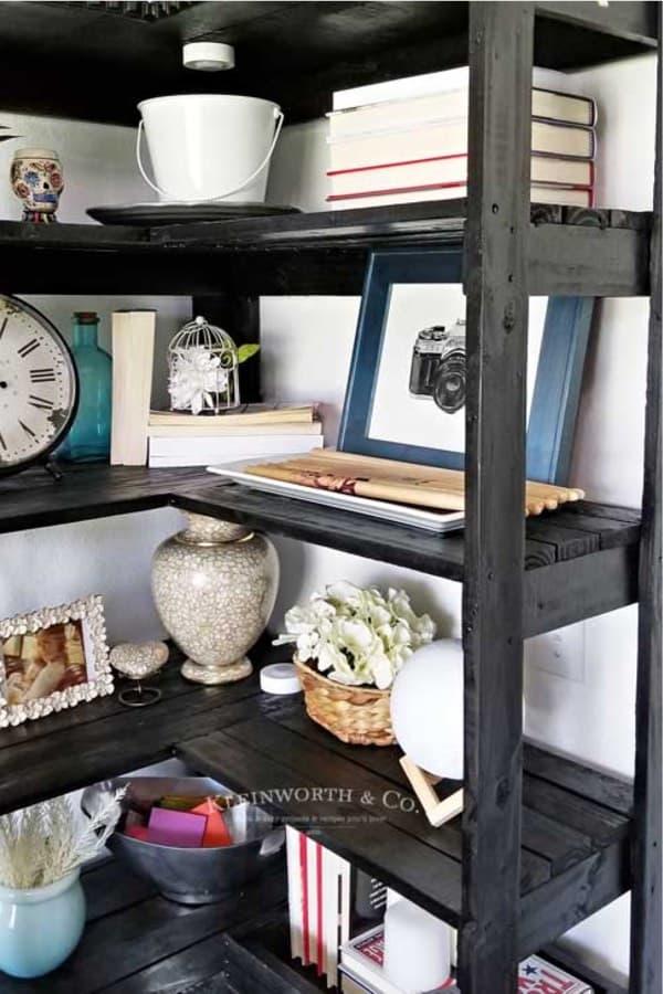 diy bookshelving for corner space