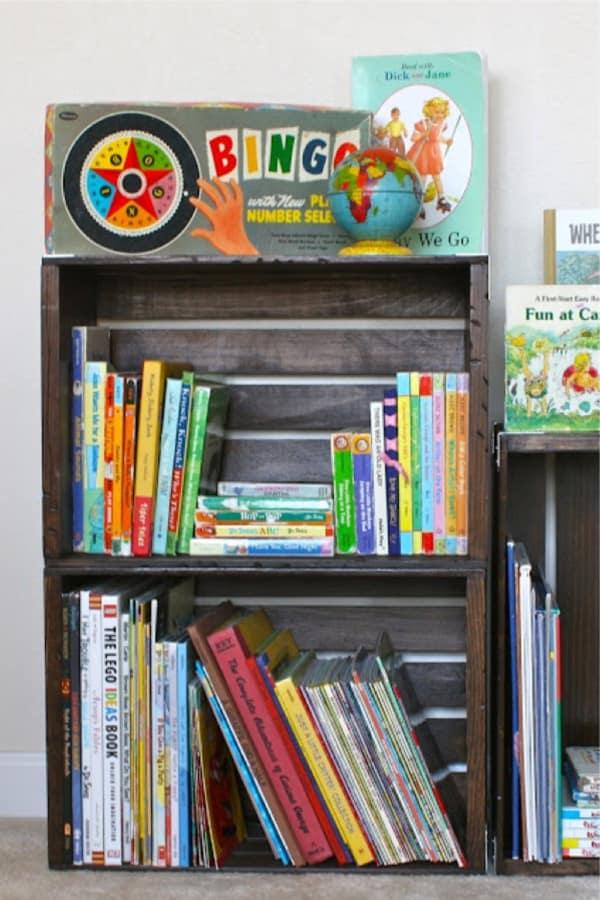 rustic bookshelf with crates