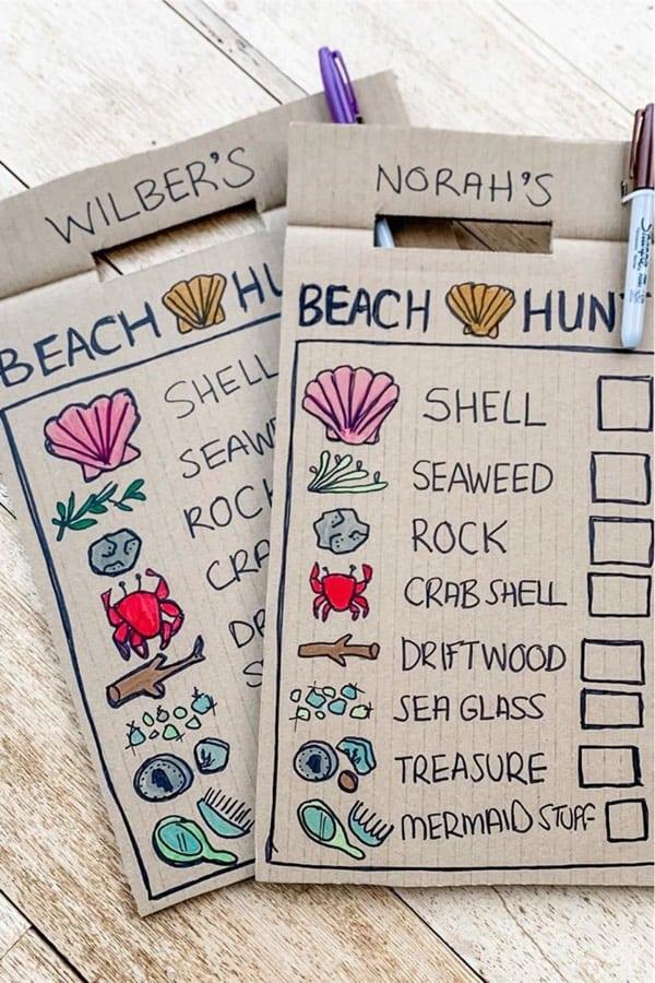 easy cardboard scavenger hunt cards
