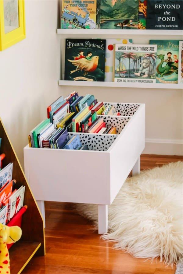 make your own book bin storage shelves