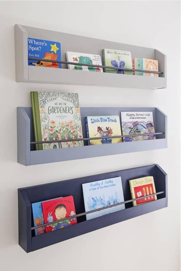 floating diy bookshelving for kids