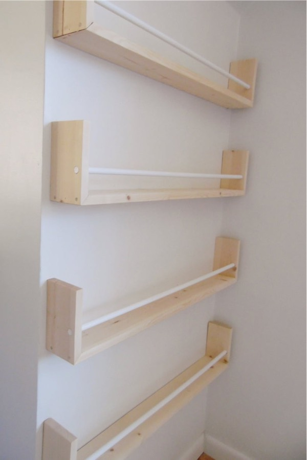 pine wood floating shelf for books