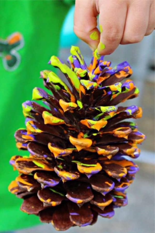 painted pine cone craft idea