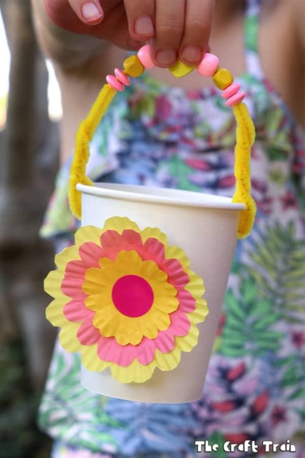 flower basket craft activity for kids