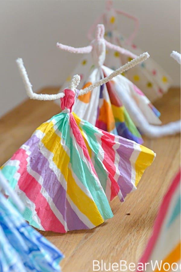 easy paper napkin princesses craft