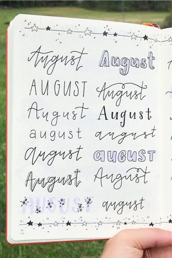august bullet journal header for purple layout