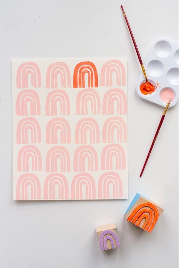 diy rainbow stamp craft