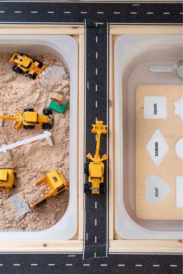 sand and construction sensory play for boys