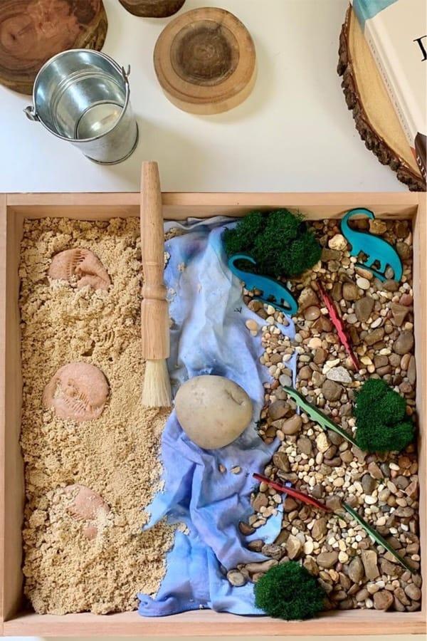 dinosaur themed sensory activity for preschoolers