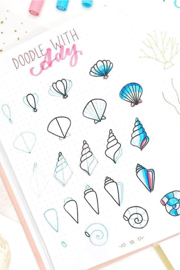 summer doodles with seashells