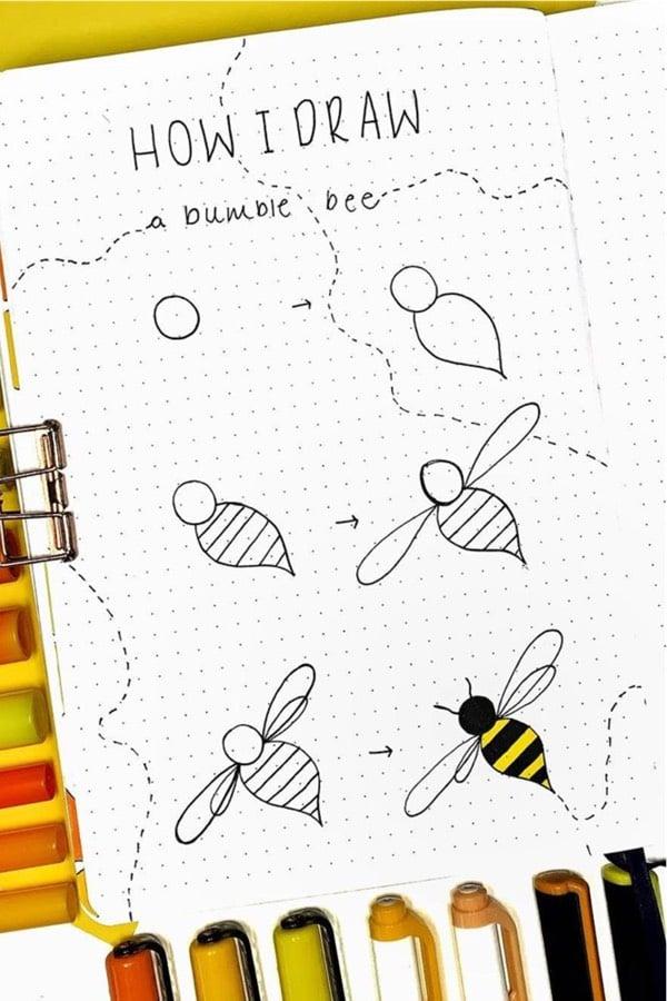 bumble bee bujo doodle tutorial