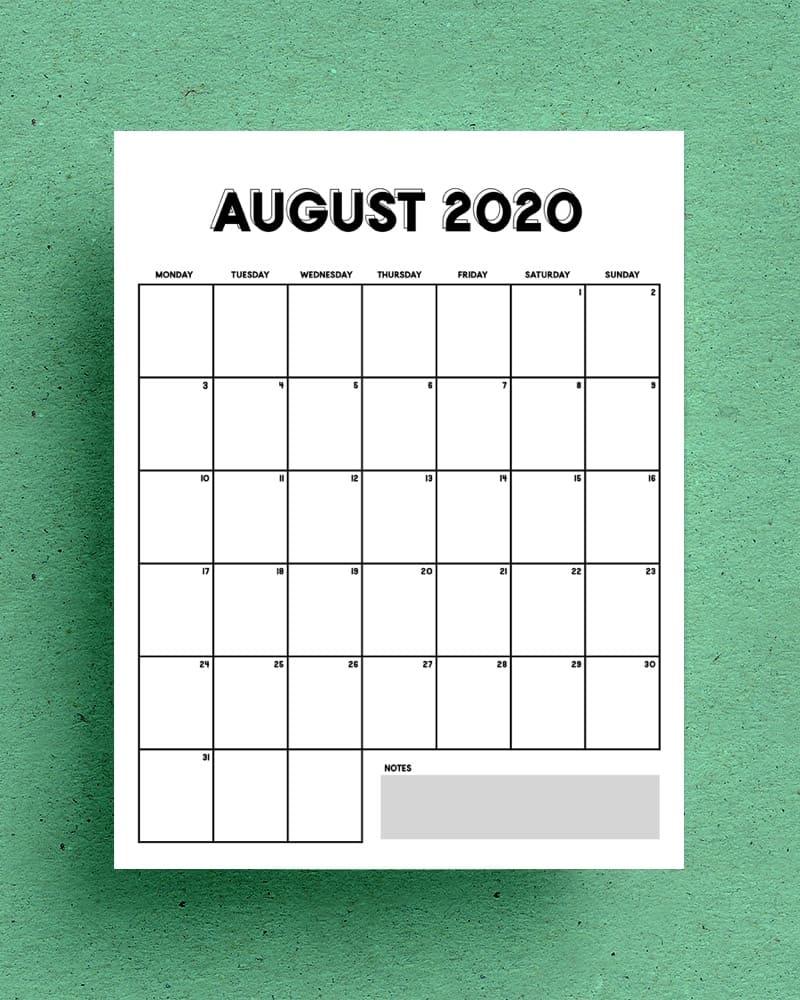 free vertical calendar blank template