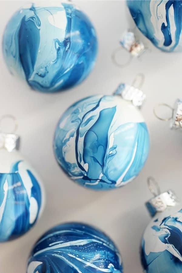 marbled indigo ornaments to make at home