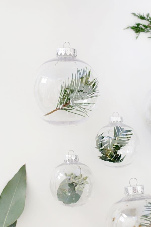 fresh greenery for diy ornament craft