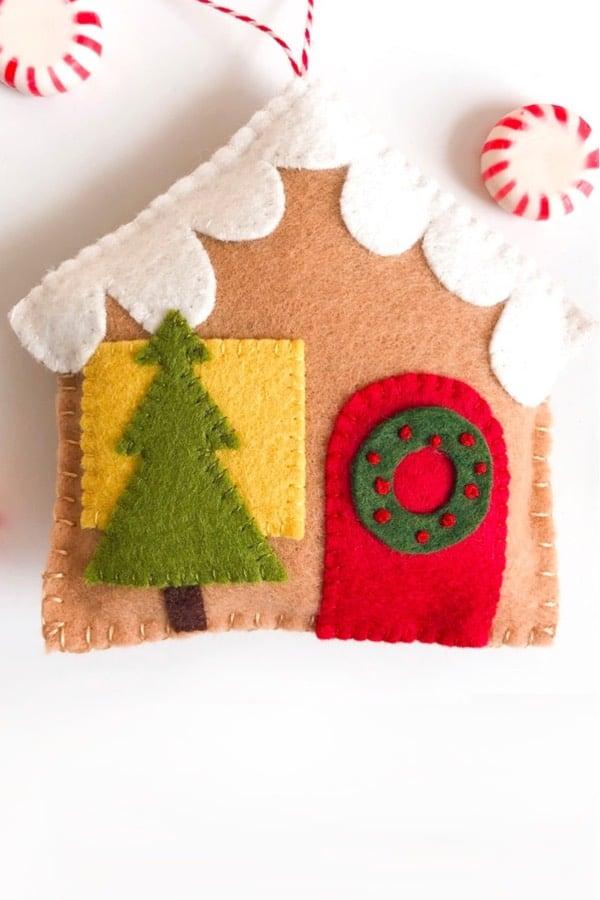 diy mini gingerbread house ornament tutorial