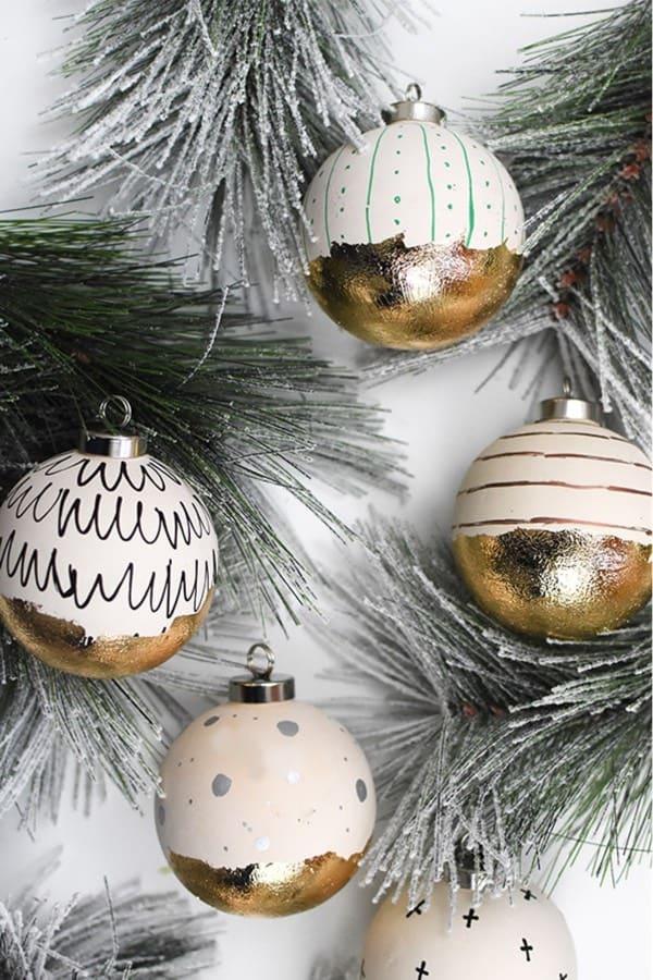 gold foil diy xmas ornaments