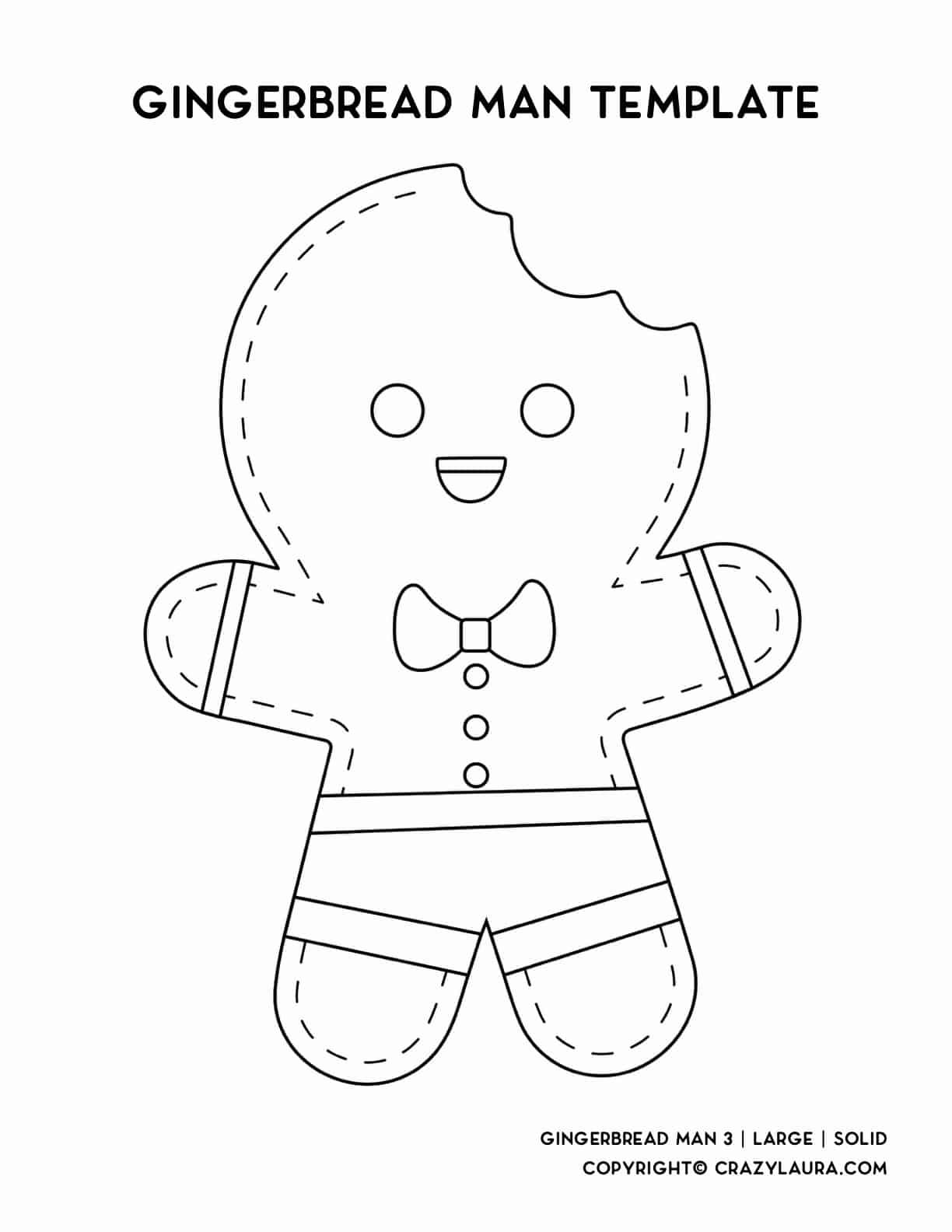 cute smiling gingerbread man coloring printable for kids