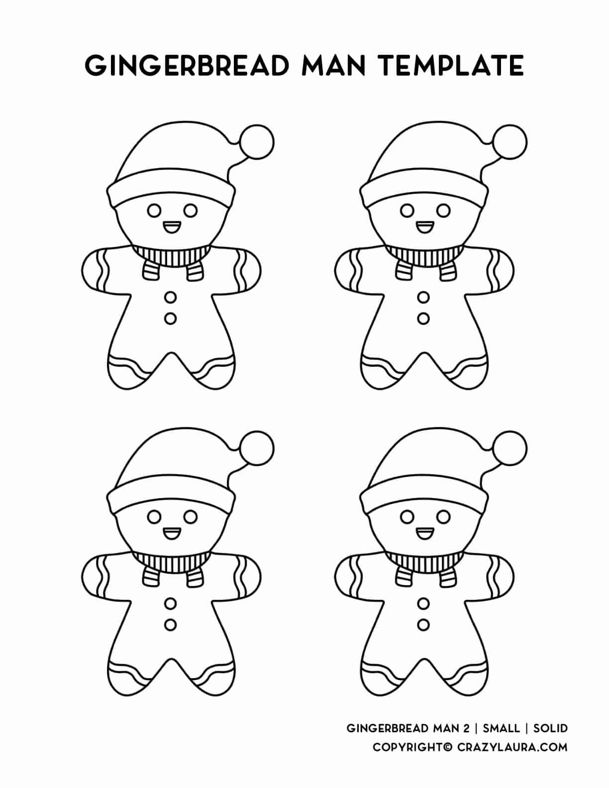 small gingerbread men printable template sheet