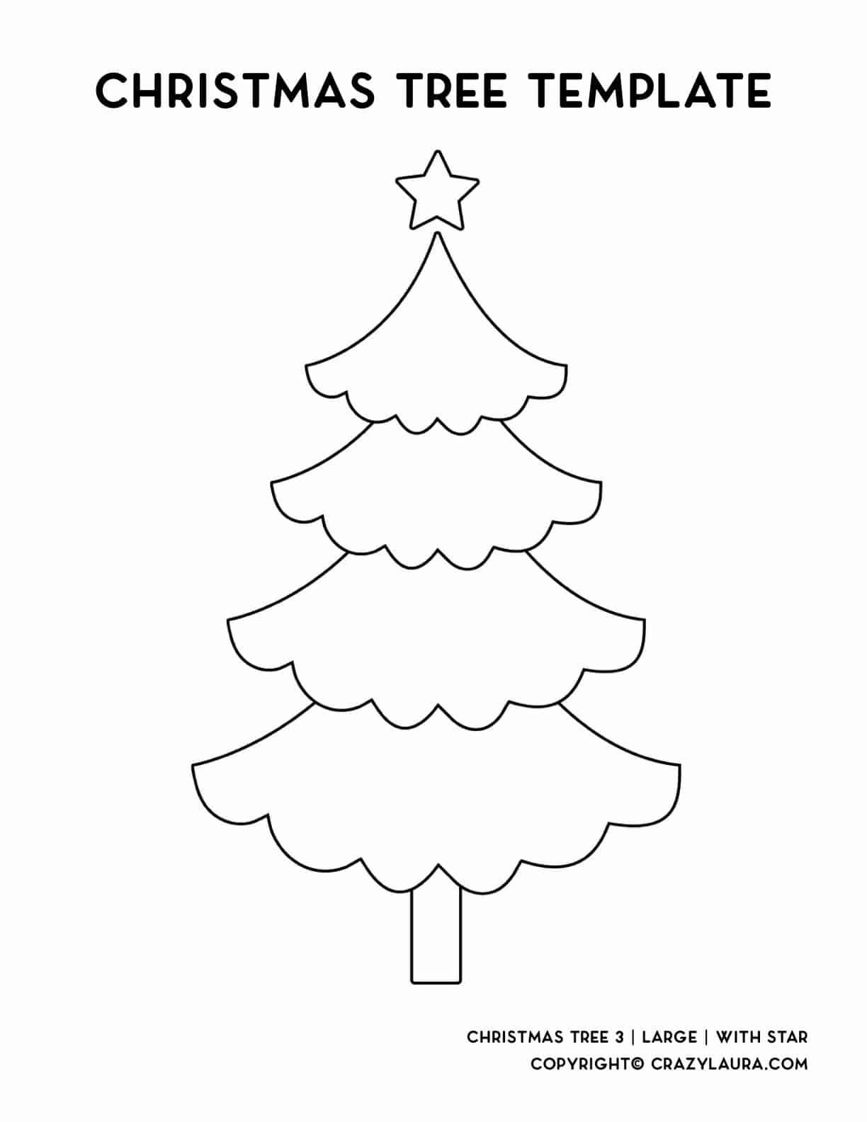 large round edge christmas tree print sheet