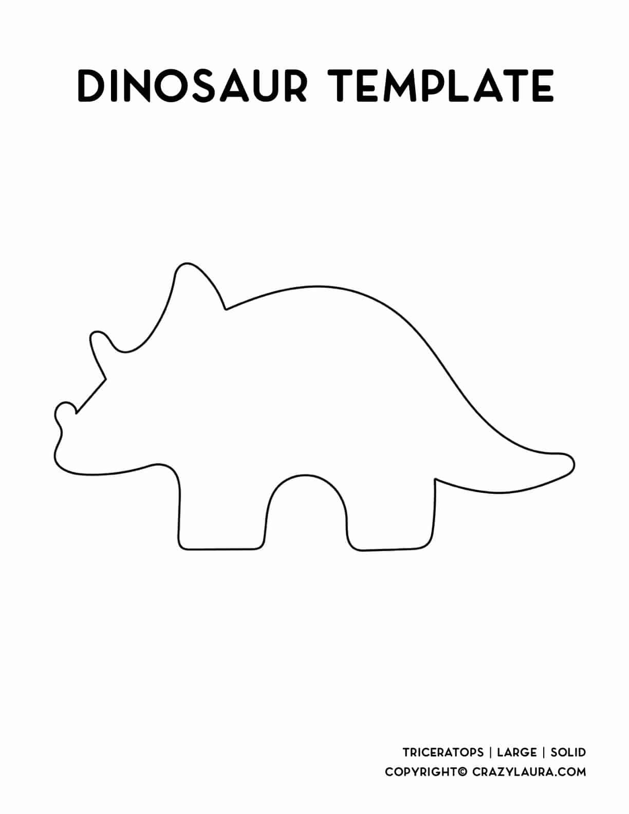 large triceratops outline for print and cut