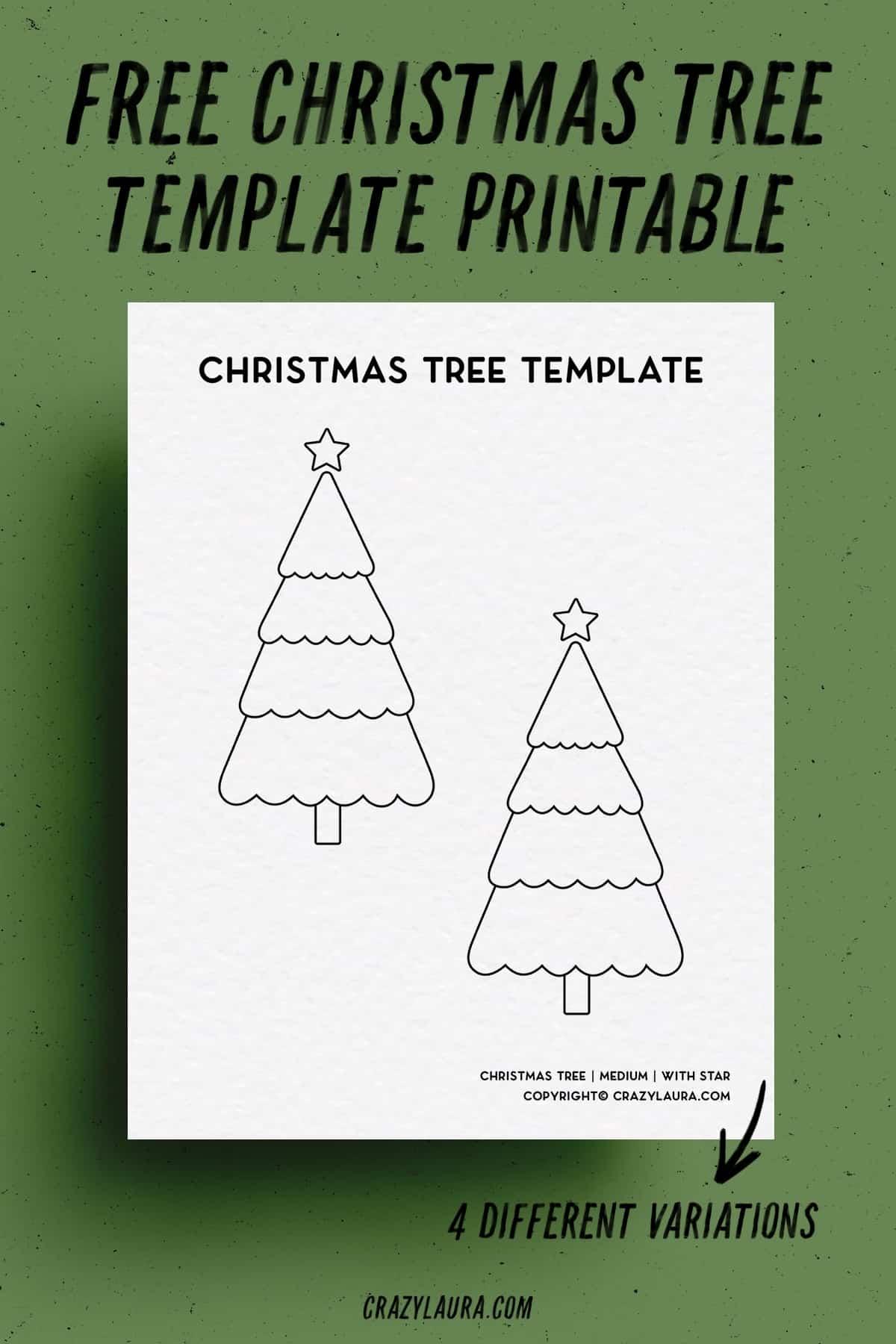 xmas tree shape template for free