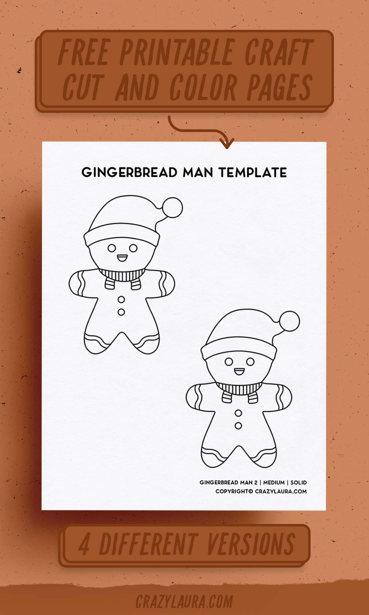ginger bread man craft outline printable