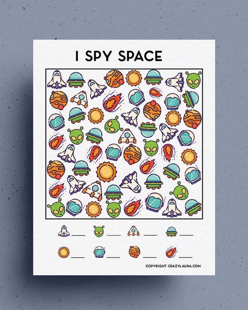 free kids i spy space themed printable