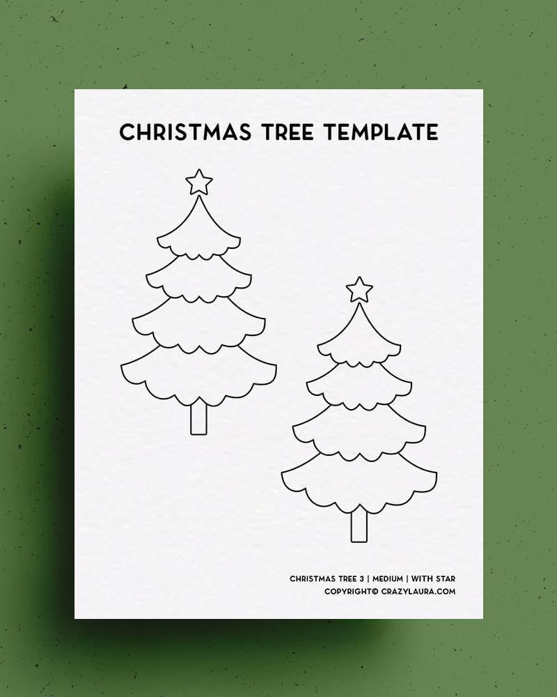 printable stencil for cute christmas trees