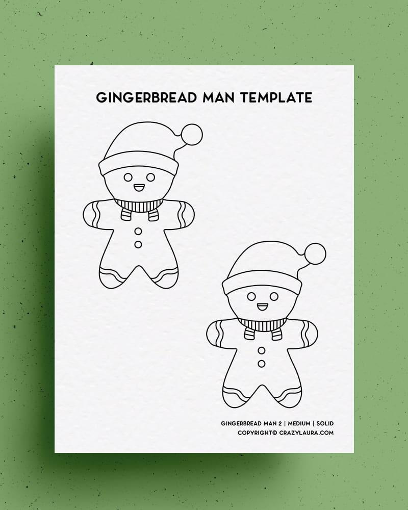 gingerbread man with santa hat coloring printable