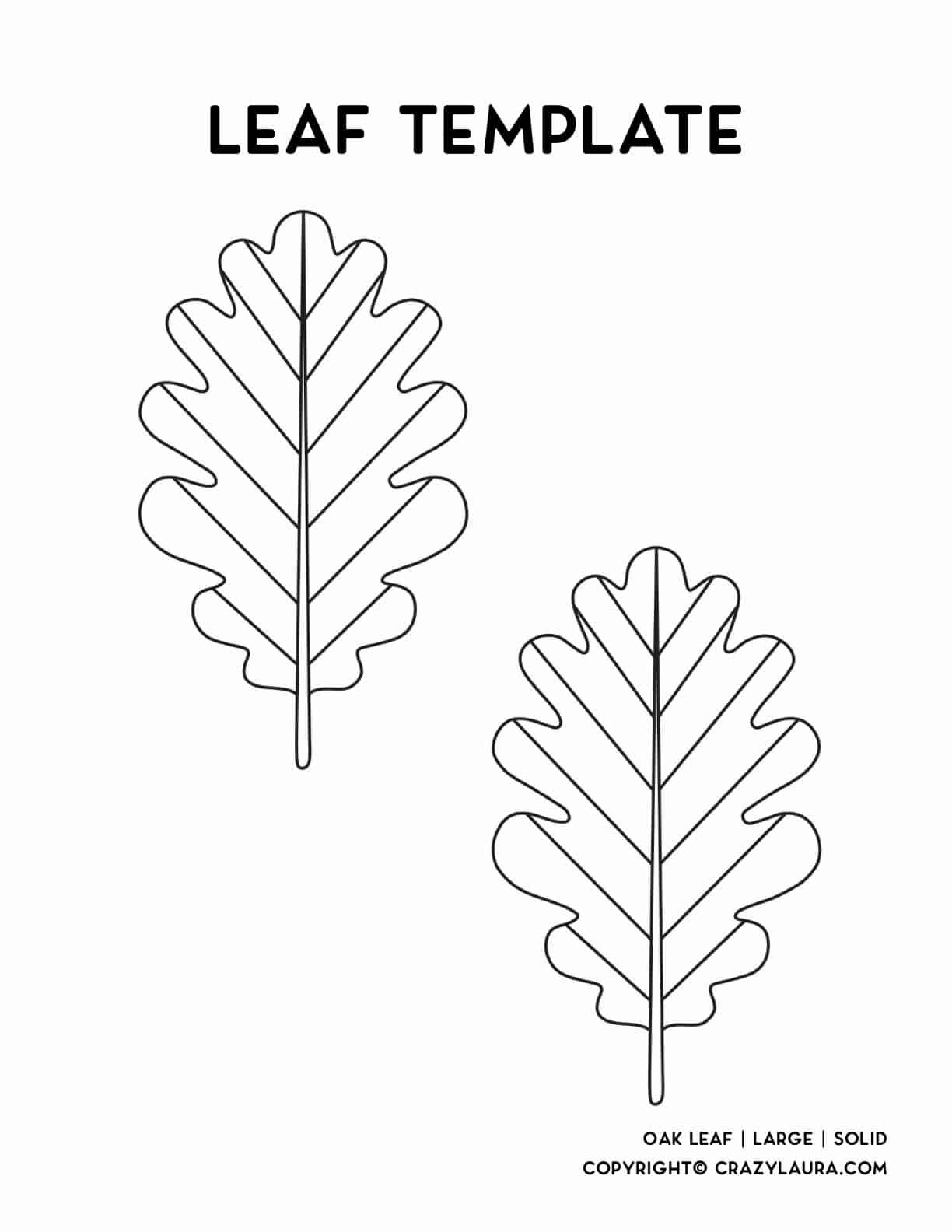 oak tree leaf printable page